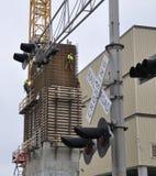 Construcción de la central eléctrica Fotos de archivo libres de regalías