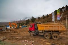 Construcción de la estación de esquí del parque de Arkhyz Imágenes de archivo libres de regalías