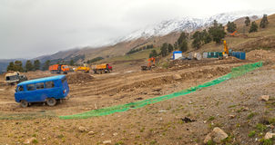 Construcción de la estación de esquí del parque de Arkhyz Foto de archivo libre de regalías