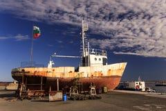 Construcción de la nave, puerto Sozopol Imágenes de archivo libres de regalías