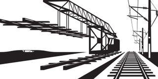 Construcción de la pista ferroviaria stock de ilustración