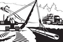 Construcción de la tubería a través de la montaña stock de ilustración