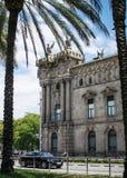 Construcción de las aduanas de Vell del puerto de Barcelona vieja imagen de archivo