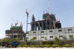 Construcción de Marina One Project en Singapur Imágenes de archivo libres de regalías