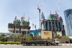 Construcción de Marina One Project en Singapur Foto de archivo
