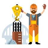 Construcción de puente del vector Ejemplo colorido de la historieta del estilo plano stock de ilustración