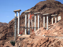 Construcción de puente en la presa de Hoover Fotos de archivo libres de regalías