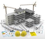 Construcción de un edificio Casas de las propiedades inmobiliarias?, planos para la venta o para el alquiler Reparación y renovac Imagen de archivo