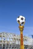 Construcción de un estadio de fútbol Imagenes de archivo