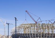 Construcción de un estadio de fútbol Fotografía de archivo