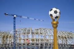 Construcción de un estadio de fútbol Imágenes de archivo libres de regalías
