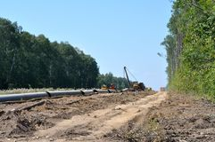 Construcción de un gaseoducto Fotografía de archivo libre de regalías