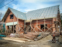 Construcción de una nueva casa imagen de archivo