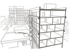 Construcción de viviendas de varios pisos del bosquejo linear arquitectónico stock de ilustración