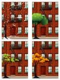 Construcción de viviendas en cuatro estaciones stock de ilustración