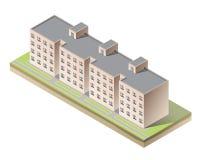 Construcción de viviendas isométrica del vector en blanco Imagen de archivo libre de regalías