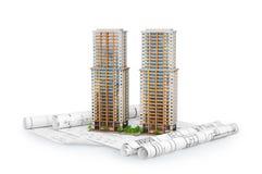 Construcción de viviendas moderna en el dibujo del plan libre illustration