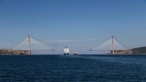 Construcción de Yavuz Sultan Selim Bridge Foto de archivo