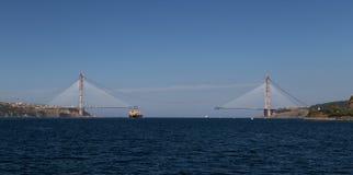 Construcción de Yavuz Sultan Selim Bridge Fotografía de archivo libre de regalías