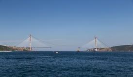 Construcción de Yavuz Sultan Selim Bridge Foto de archivo libre de regalías