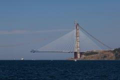 Construcción de Yavuz Sultan Selim Bridge Imágenes de archivo libres de regalías