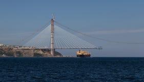 Construcción de Yavuz Sultan Selim Bridge Imagenes de archivo
