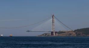 Construcción de Yavuz Sultan Selim Bridge Fotos de archivo libres de regalías