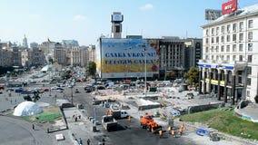Construcción del árbol de pino que desmonta en Kiev, Ucrania, Fotografía de archivo