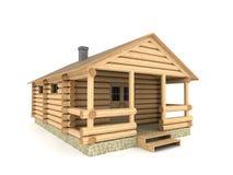 Construcción del baño en una ilustración de la aldea 3D Fotografía de archivo libre de regalías