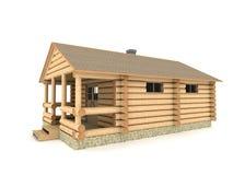 Construcción del baño en una ilustración de la aldea 3D Imágenes de archivo libres de regalías