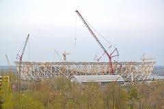 Construcción del estadio de la arena de Stalingrad para llevar a cabo los juegos del mundial de la FIFA de 2018 Fotos de archivo libres de regalías