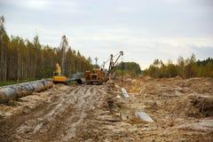 Construcción del gaseoducto Imágenes de archivo libres de regalías