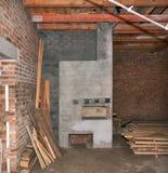 Construcción del horno ruso Fotografía de archivo