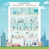 Construcción del hospital exterior con el doctor y el control médico paciente Imagen de archivo