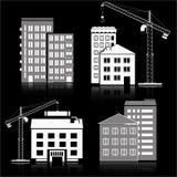 Construcción del icono ejemplo con el sistema de edificios y de grúas Fotografía de archivo