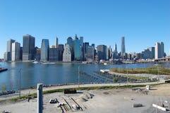 Construcción del parque del puente de Brooklyn, New York City Imagen de archivo