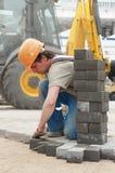Construcción del pavimento de la acera Fotografía de archivo libre de regalías