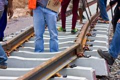 Construcción del problema del ferrocarril. foto de archivo