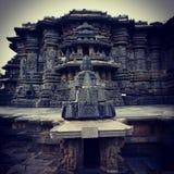Construcción del yagachi del halebidu de Belur de la escultura de la piedra del diseño de la arquitectura del templo de CHENNAKES Imagen de archivo