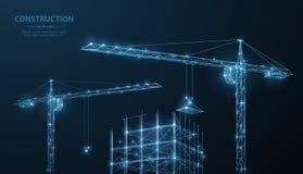 construcción Edificio poligonal del wireframe bajo crune en el cielo nocturno azul marino con los puntos, estrellas stock de ilustración