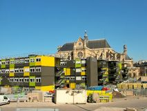 Construcción en el área de Les Halles en París foto de archivo