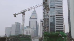 Construcción en el centro de Hong Kong Movimiento rápido almacen de metraje de vídeo