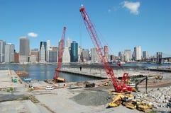 Construcción en el parque del puente de Brooklyn, Nueva York Imagenes de archivo