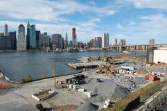 Construcción en el parque del puente de Brooklyn, Nueva York Imagen de archivo