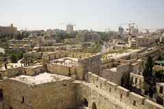 Construcción en Jerusalén, vista de la ciudadela fotografía de archivo