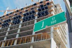 Construcción en la calle de J Foto de archivo