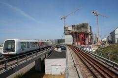 Construcción en la estación de metro en Copenhague Fotos de archivo