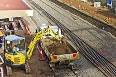 Construcción ferroviaria en curso Imagen de archivo libre de regalías