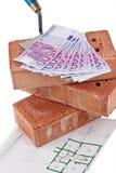 Construcción, financiamiento, sociedades de crédito a la vivienda. Ladrillo fotos de archivo