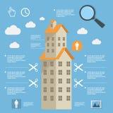 Construcción infographic del negocio de edificios de apartamentos en diseño plano Imágenes de archivo libres de regalías